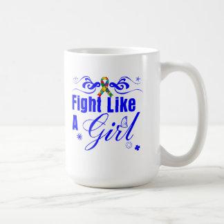 Autism Fight Like A Girl Ornate Mug