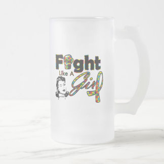 Autism Fight Like A Girl - Retro Girl Mugs