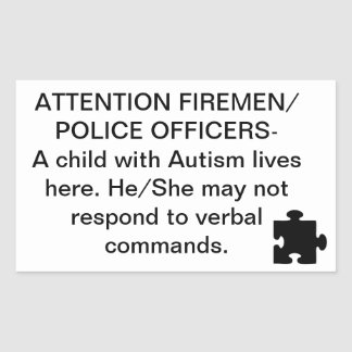 Autism Fire/Emergency Safety Stickers