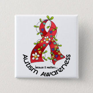 AUTISM Flower Ribbon 1 Button