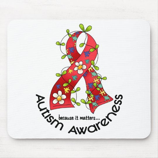 AUTISM Flower Ribbon 1 Mouse Pad