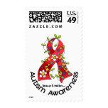 AUTISM Flower Ribbon 1 Postage Stamp