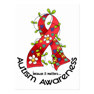 AUTISM Flower Ribbon 1 Postcards