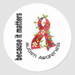 Autism Flower Ribbon 3 Stickers