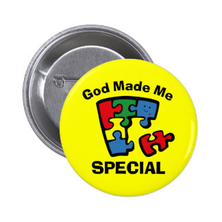 Autism God Made Me Special Pinback Button