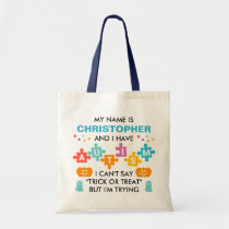 Autism Halloween Trick Or Treat Personalized Name Tote Bag