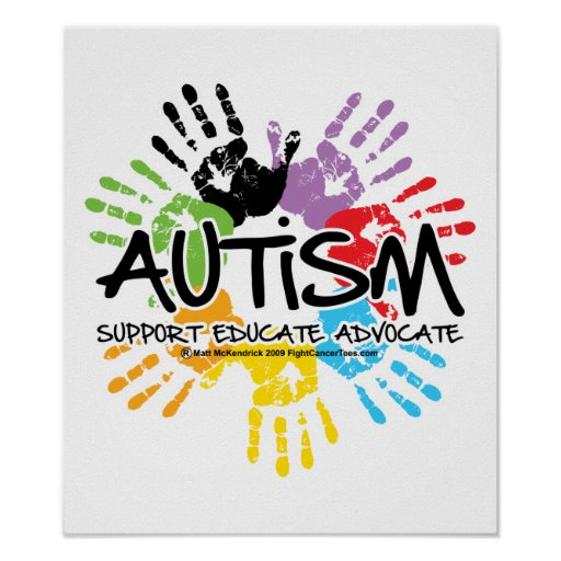 Autism Awareness Art Posters Framed Artwork: Autism Handprint Poster