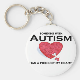 Autism has a piece of my heart basic round button keychain