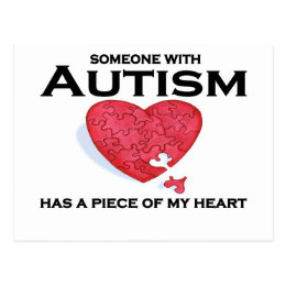 Autism has a piece of my heart postcard