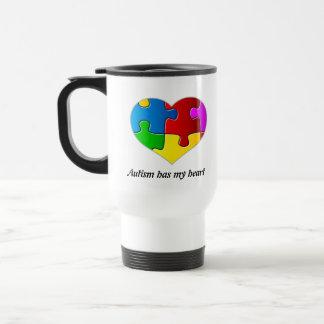 Autism Has My Heart, travel mug white...