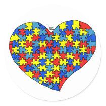 Autism Heart Classic Round Sticker