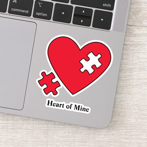 Autism Heart Puzzle Mom's Laptop Cutout Vinyl Sticker