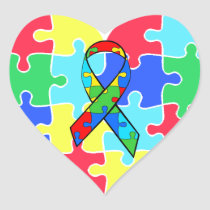 Autism  Heart Puzzle Pieces Sticker