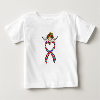 Autism Heart Ribbon Angel Baby T-Shirt