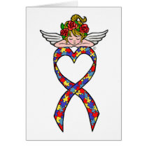 Autism Heart Ribbon Angel Card