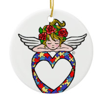 Autism Heart Ribbon Angel Ceramic Ornament