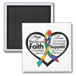 Autism Heart Ribbon Collage 2 Inch Square Magnet
