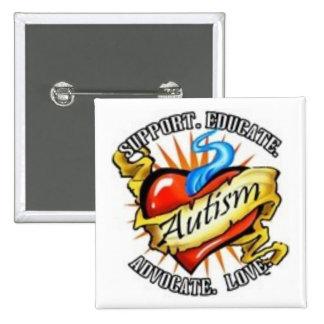 autism heart tatoo pinback button