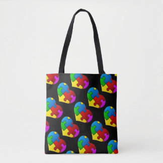 Autism Hearts Love Tote Bag