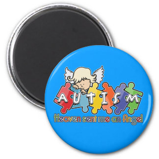 Autism Heaven Sent Me An Angel 2 Inch Round Magnet