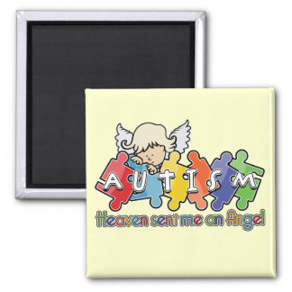 Autism Heaven Sent Me An Angel 2 Inch Square Magnet