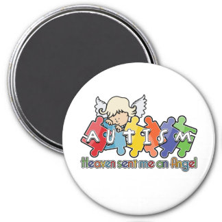 Autism Heaven Sent Me An Angel 3 Inch Round Magnet