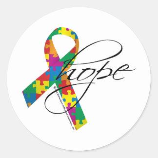 Autism Hope 2 Classic Round Sticker