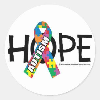 Autism Hope 3 Classic Round Sticker
