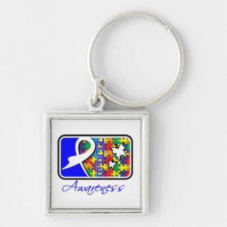 Autism Hope Awareness Tile Silver-Colored Square Keychain