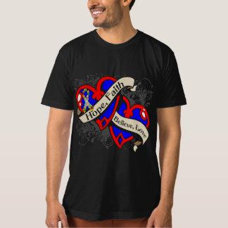 Autism Hope Faith Dual Hearts Tee Shirt