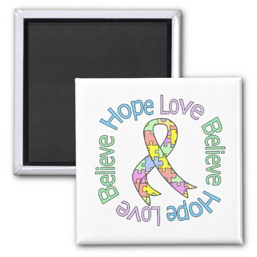 Autism Hope Love Believe 2 Inch Square Magnet
