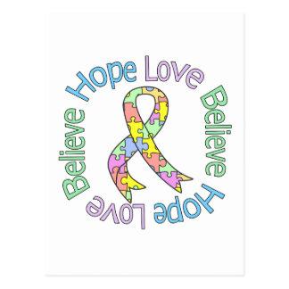 Autism Hope Love Believe Postcard