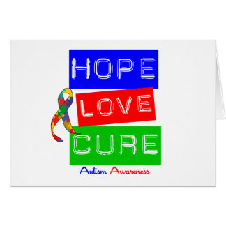 Autism Hope Love Cure Greeting Cards