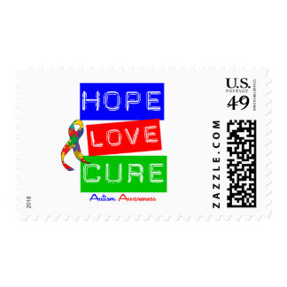 Autism Hope Love Cure Postage Stamps