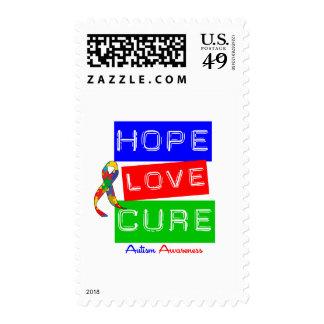 Autism Hope Love Cure Postage