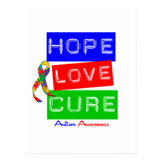 Autism Hope Love Cure Post Card