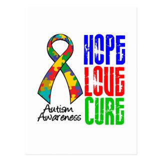 Autism Hope Love Cure Ribbon Postcard