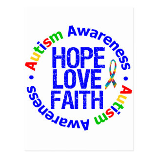 Autism Hope Love Faith Postcard