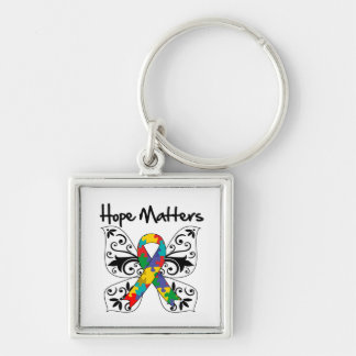 Autism Hope Matters Silver-Colored Square Keychain