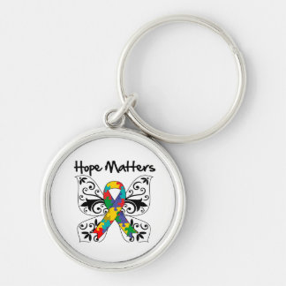 Autism Hope Matters Silver-Colored Round Keychain