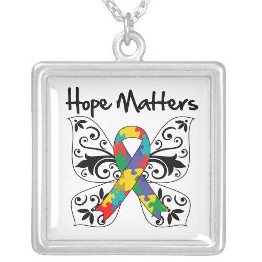 Autism Hope Matters Square Pendant Necklace