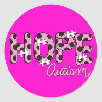 "Autism ""HOPE""  Pink & Black Polka Dot Design Classic Round Sticker"