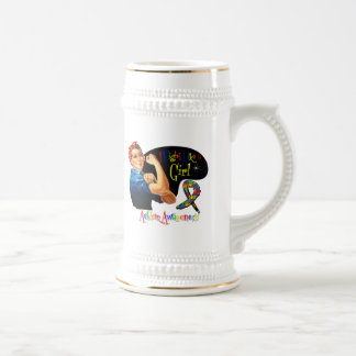 Autism I Fight Like a Girl Rosie The Riveter Coffee Mugs