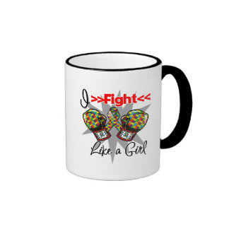 Autism I Fight Like a Girl With Gloves Coffee Mugs