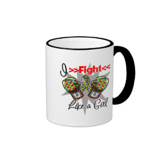 Autism I Fight Like a Girl With Gloves Mugs