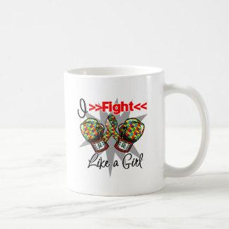 Autism I Fight Like a Girl With Gloves Coffee Mug