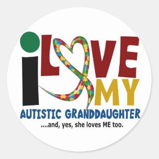 AUTISM I Love My Autistic Granddaughter 2 Classic Round Sticker