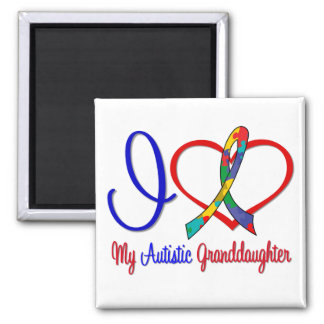 Autism I Love My Autistic Granddaughter 2 Inch Square Magnet
