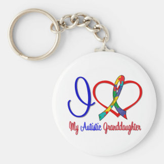 Autism I Love My Autistic Granddaughter Basic Round Button Keychain