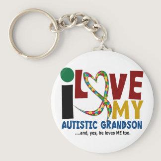 AUTISM I Love My Autistic Grandson 2 Keychain